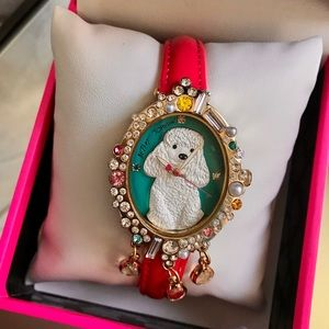 Betsey Johnson Poodle 3d Pearl Stone Crystal Watch